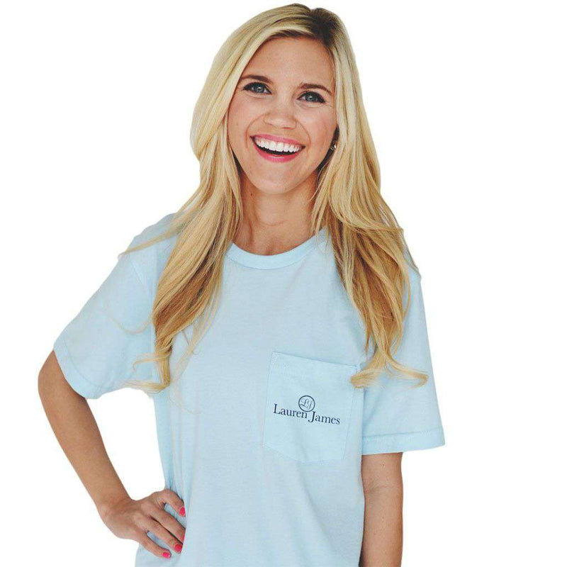 Women's Tee Shirts - I'm A Seersucker For A Boy In A Bow Tie Tee In Light Blue By Lauren James - FINAL SALE