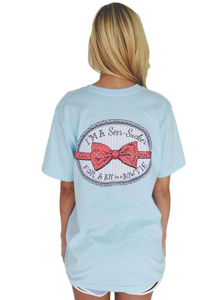 I'm a Seersucker for a Boy in a Bow Tie Tee in Light Blue by Lauren James - FINAL SALE