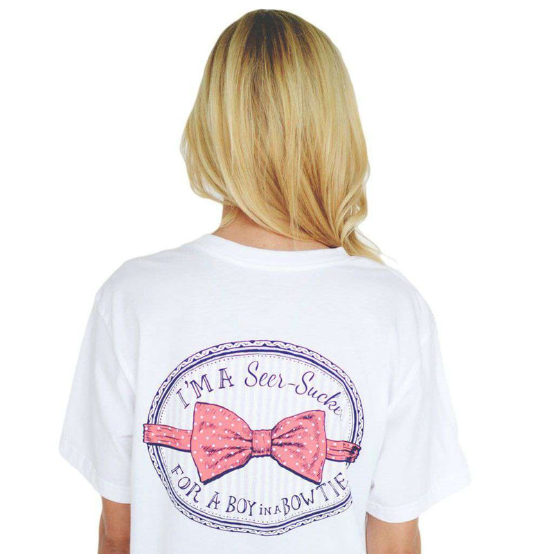 Women's Tee Shirts - I'm A Seersucker For A Boy In A Bow Tie Tee In White By Lauren James - FINAL SALE