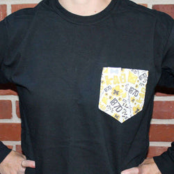 Women's Tee Shirts - Kappa Alpha Theta Long Sleeve Tee Shirt In Black With Pattern Pocket By The Frat Collection