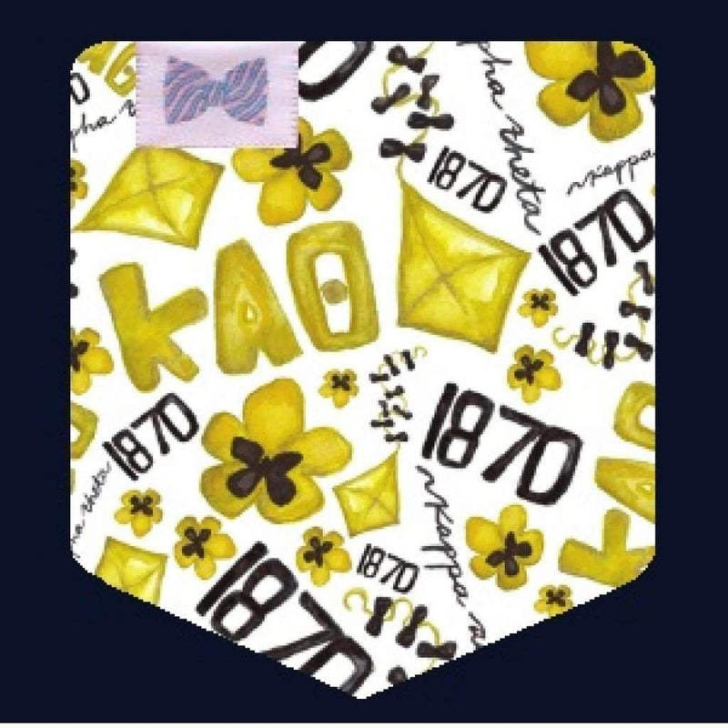 Women's Tee Shirts - Kappa Alpha Theta Tank Top In Black With Pattern Pocket By The Frat Collection - FINAL SALE