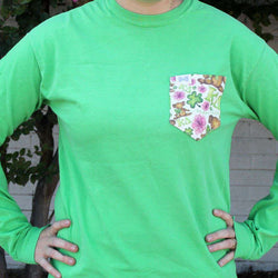 Women's Tee Shirts - Kappa Delta Long Sleeve Tee Shirt In Pine Forest Green With Pattern Pocket By The Frat Collection