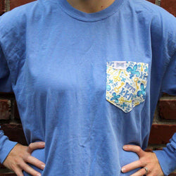 Women's Tee Shirts - Kappa Kappa Gamma Long Sleeve Tee Shirt In Fluorescent Blue With Pattern Pocket By The Frat Collection