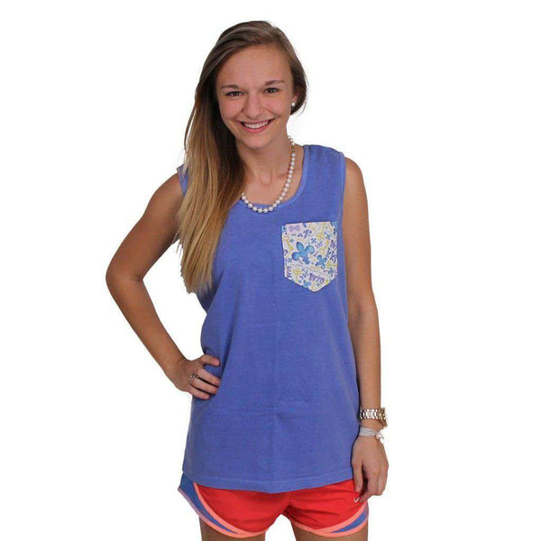 Women's Tee Shirts - Kappa Kappa Gamma Tank Top In Fluorescent Blue With Pattern Pocket By The Frat Collection - FINAL SALE