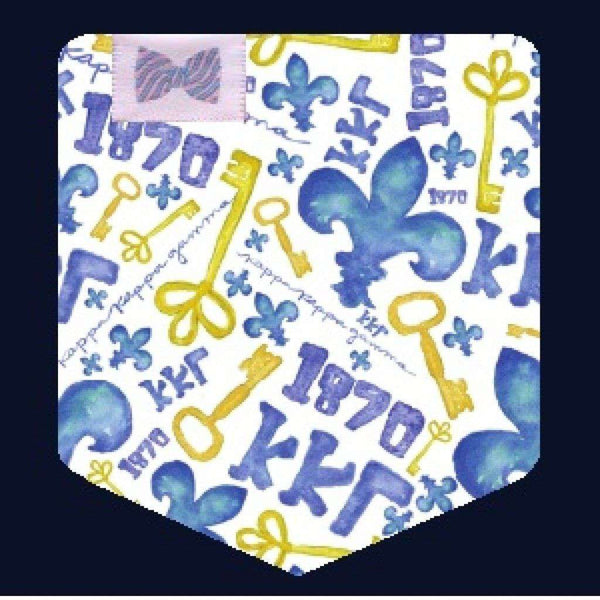 Kappa Kappa Gamma Tank Top in Fluorescent Blue with Pattern Pocket by the Frat Collection - FINAL SALE