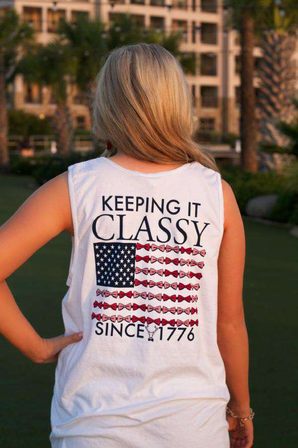 Women's Tee Shirts - Keeping It Classy Since 1776 Tank Top In Picket Fence White By Jadelynn Brooke