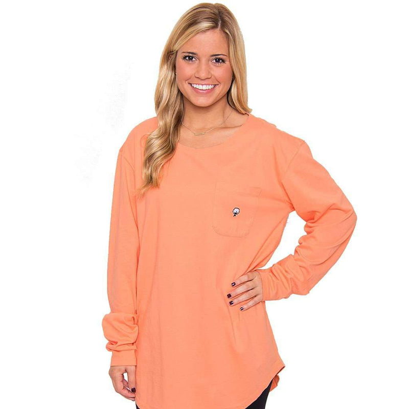Kimmy Boatneck Long Sleeve Tee in Papaya Orange by The Southern Shirt Co. - Country Club Prep