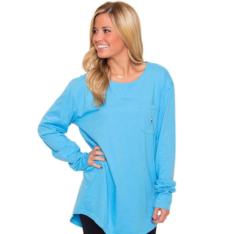 Kimmy Boatneck Long Sleeve Tee in Riviera Blue by The Southern Shirt Co. - Country Club Prep