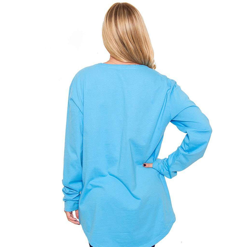 Women's Tee Shirts - Kimmy Boatneck Long Sleeve Tee In Riviera Blue By The Southern Shirt Co.