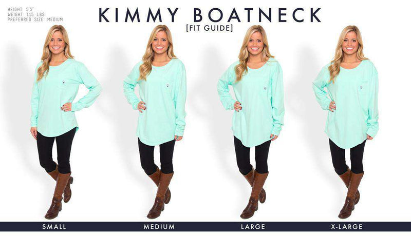 Women's Tee Shirts - Kimmy Boatneck Long Sleeve Tee In Tidal Green By The Southern Shirt Co.