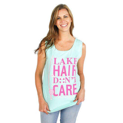 Women's Tee Shirts - Lake Hair Don't Care Tank In Island Reef By Jadelynn Brooke