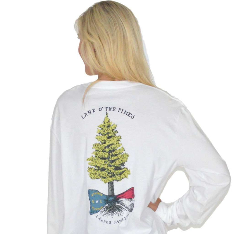 Women's Tee Shirts - Land O' The Pines Long Sleeve Tee In White By Lauren James - FINAL SALE