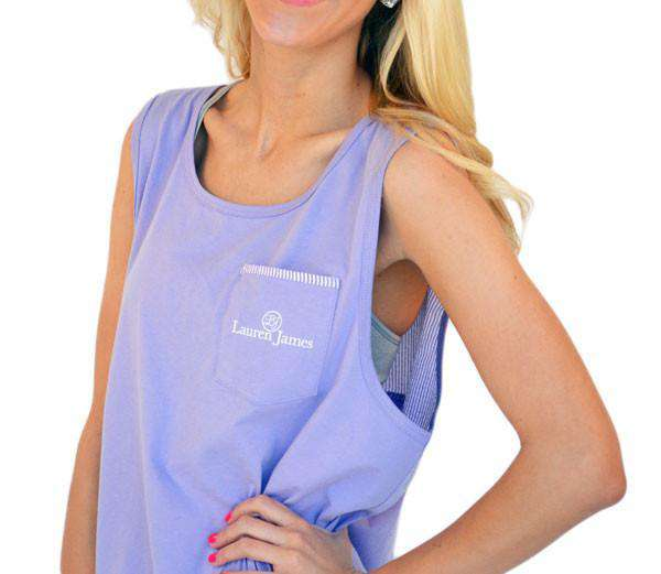 Women's Tee Shirts - Lavender Seersucker Tank In Lavender By Lauren James - FINAL SALE