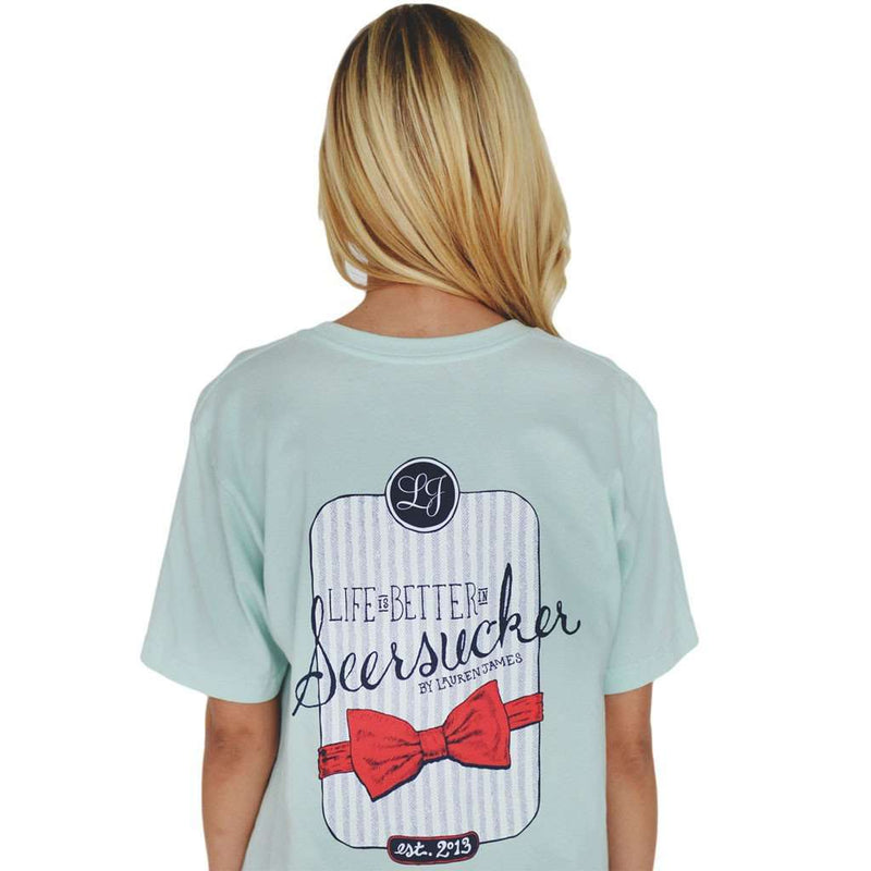 Women's Tee Shirts - Life Is Better In Seersucker Tee In Mint Green By Lauren James - FINAL SALE