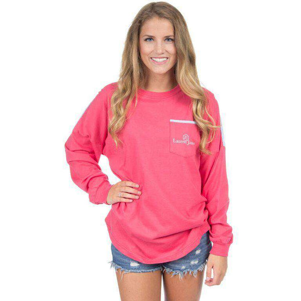 Long Sleeve Beachcomber in Claret Red and Sky Blue Seersucker by Lauren James - FINAL SALE