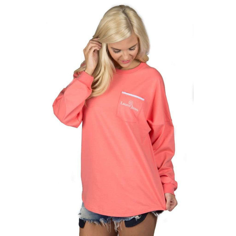 Women's Tee Shirts - Long Sleeve Beachcomber In Coral With Light Blue Seersucker By Lauren James - FINAL SALE