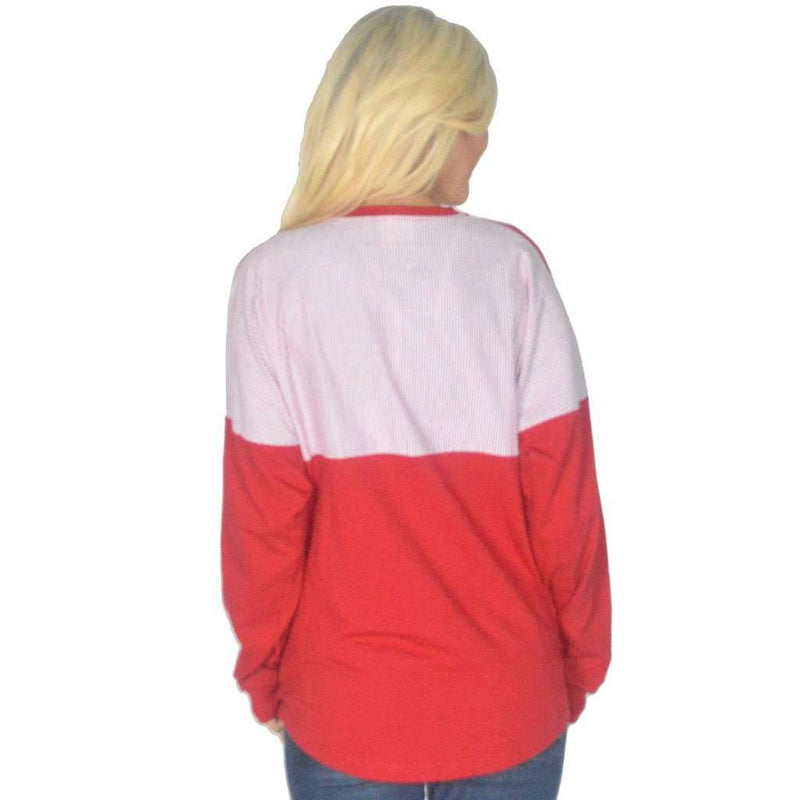 Women's Tee Shirts - Long Sleeve Beachcomber In Lighthouse Red With Crimson Seersucker By Lauren James - FINAL SALE