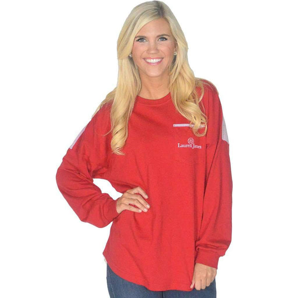 Long Sleeve Beachcomber in Lighthouse Red with Crimson Seersucker by Lauren James - FINAL SALE