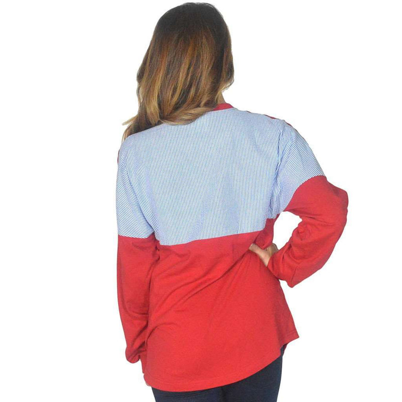 Women's Tee Shirts - Long Sleeve Beachcomber In Lighthouse Red With Royal Seersucker By Lauren James - FINAL SALE