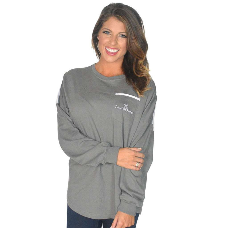 Women's Tee Shirts - Long Sleeve Beachcomber In Pebble Gray With Light Pink Seersucker By Lauren James - FINAL SALE