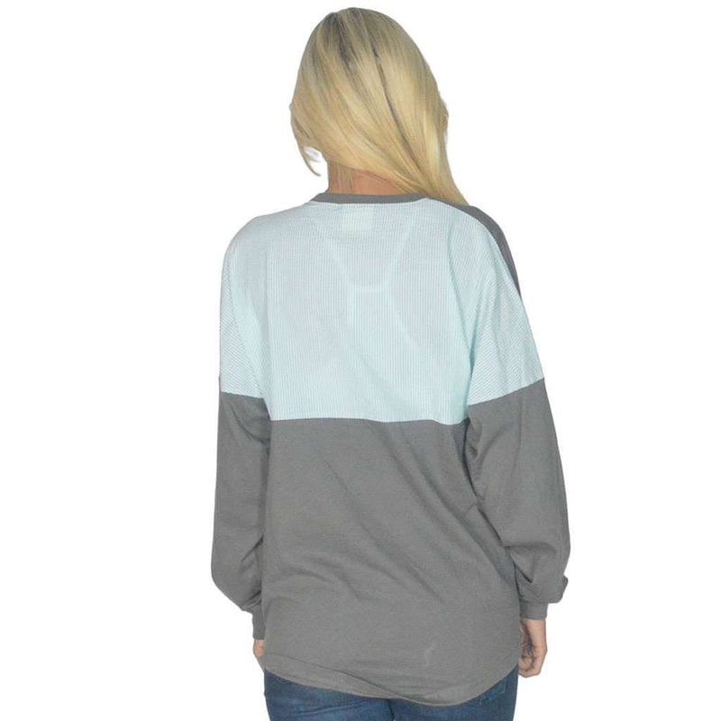 Women's Tee Shirts - Long Sleeve Beachcomber In Pebble Gray With Mint Seersucker By Lauren James - FINAL SALE