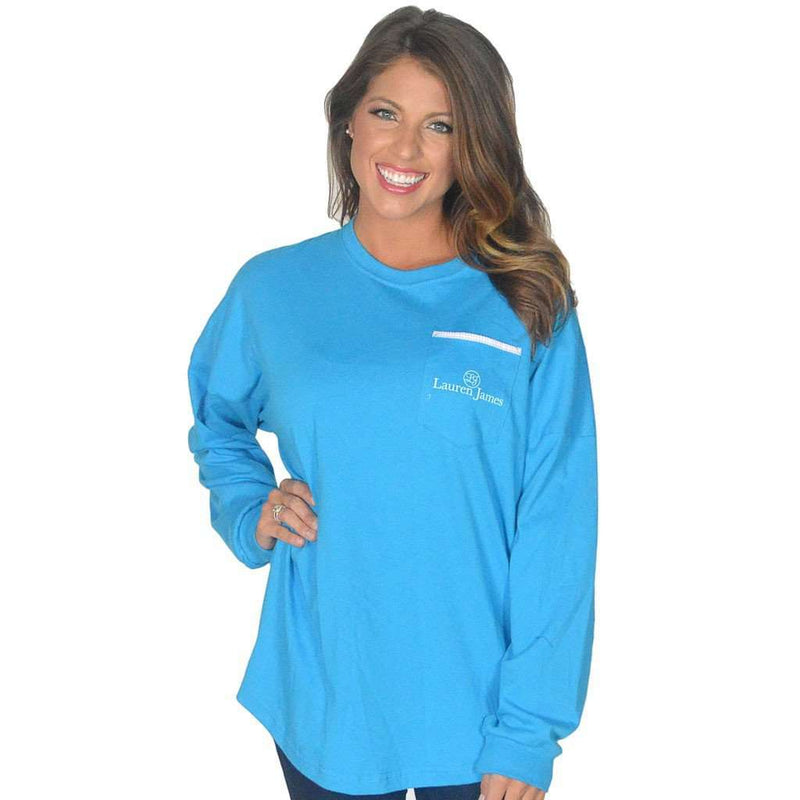 Long Sleeve Beachcomber in Regatta Blue with Light Pink Seersucker by Lauren James - FINAL SALE