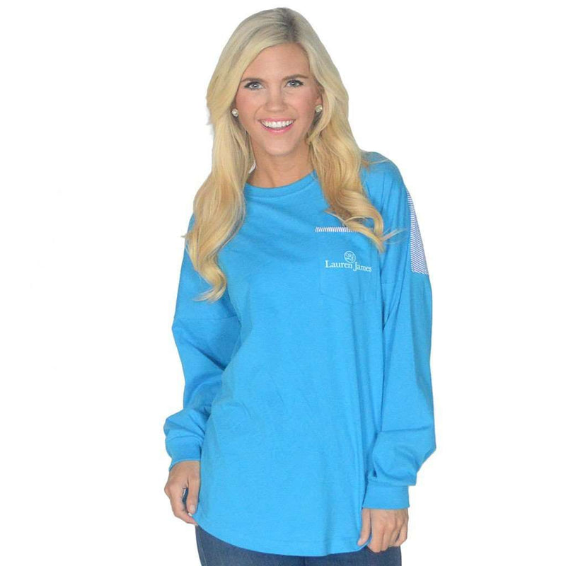 Long Sleeve Beachcomber in Regatta Blue with Royal Seersucker by Lauren James - FINAL SALE