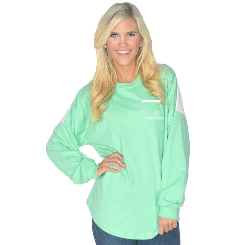 Long Sleeve Beachcomber in Seafoam with Light Pink Seersucker by Lauren James - FINAL SALE