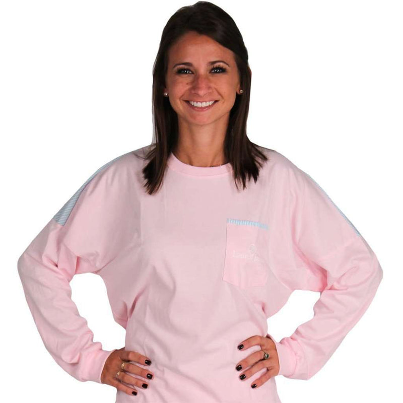 Long Sleeve Beachcomber in Seashell with Palm Seersucker by Lauren James - FINAL SALE