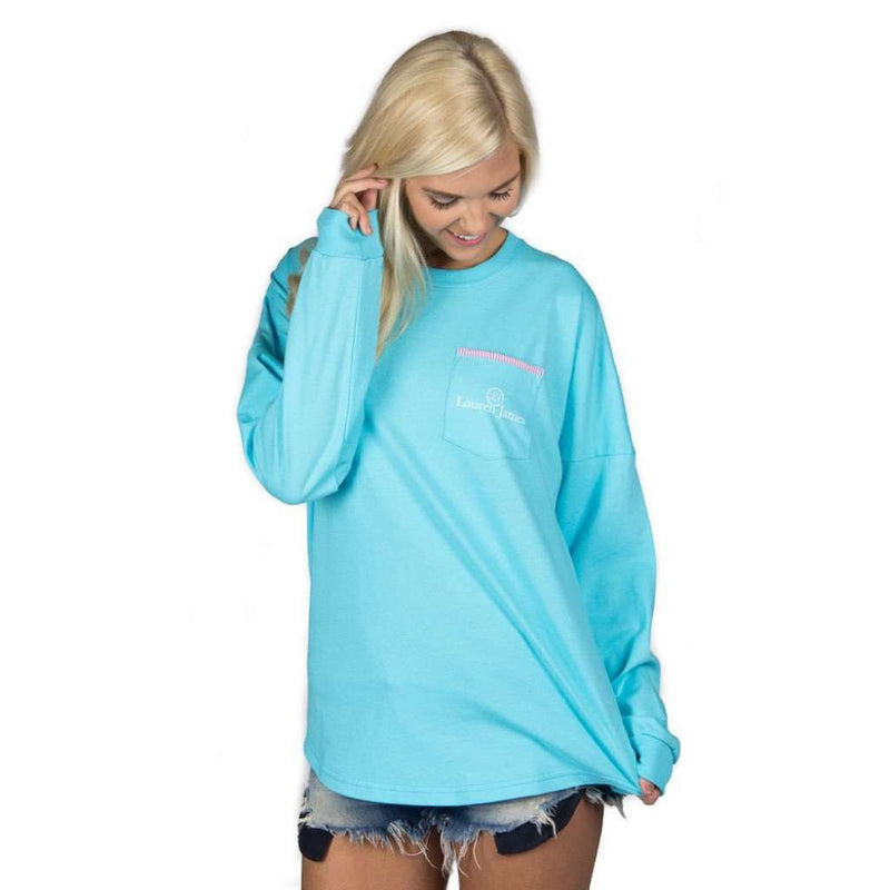 Long Sleeve Beachcomber in Sky Blue with Hot Pink Seersucker by Lauren James - FINAL SALE