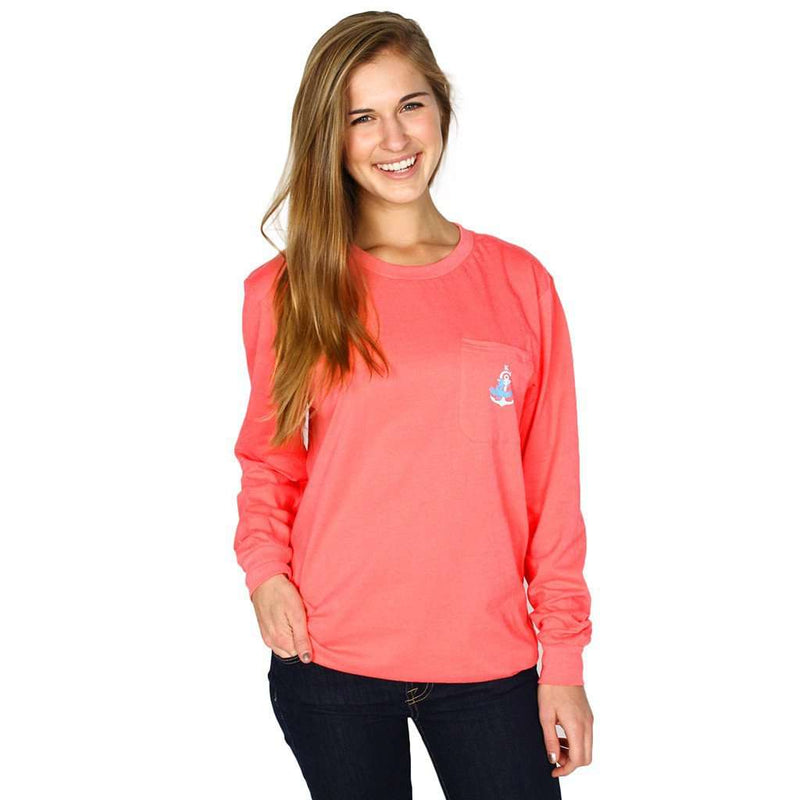 Long Sleeve Classic Crest Pocket Tee Shirt in Coral by Krass & Co. - FINAL SALE
