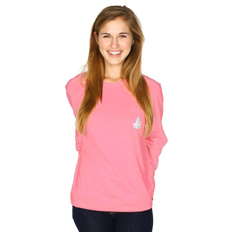 Women's Tee Shirts - Long Sleeve Classic Crest Pocket Tee Shirt In Pretty Pink By Krass & Co. - FINAL SALE