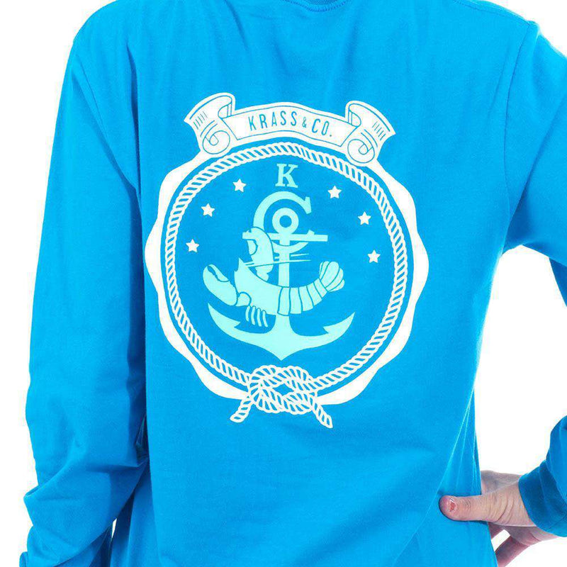 Long Sleeve Classic Crest Pocket Tee Shirt in Royal Blue by Krass & Co. - FINAL SALE
