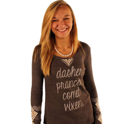 Women's Tee Shirts - Long Sleeve Dasher, Dancer Waffle Shirt In Grey With Diamond Sleeve Detail By Judith March - FINAL SALE