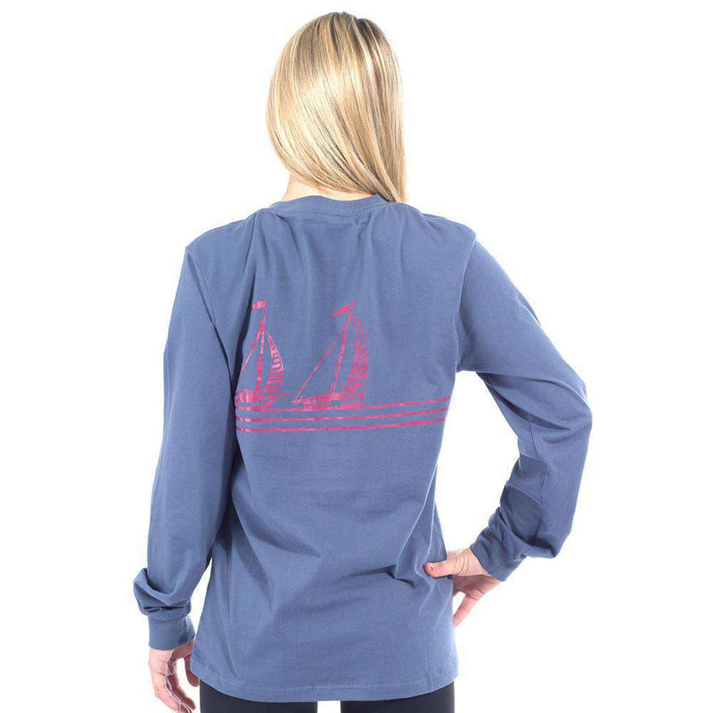 Long Sleeve Sailing Lines Pocket Tee Shirt in Navy by Krass & Co.