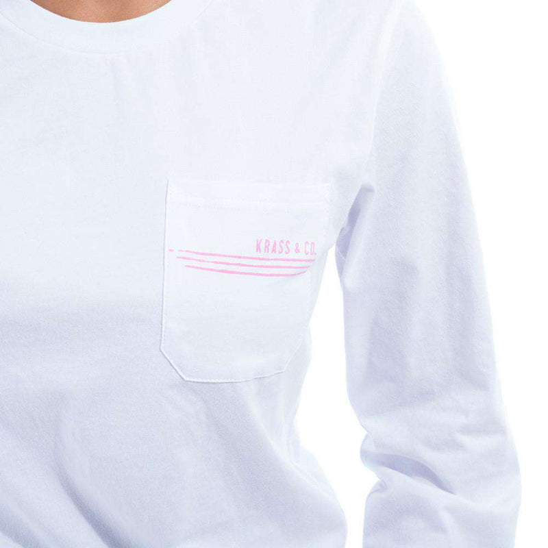 Long Sleeve Sailing Lines Pocket Tee Shirt in White by Krass & Co. - FINAL SALE