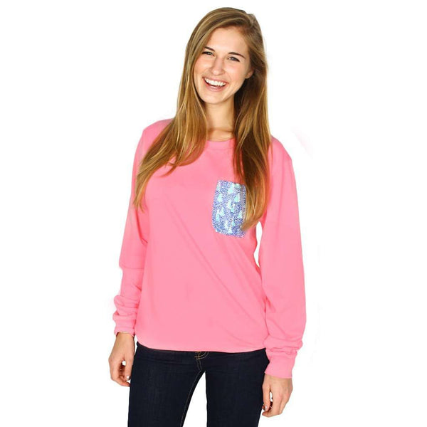Long Sleeve Sailor's Delight Pocket Tee Shirt in Pink by Krass & Co. - FINAL SALE