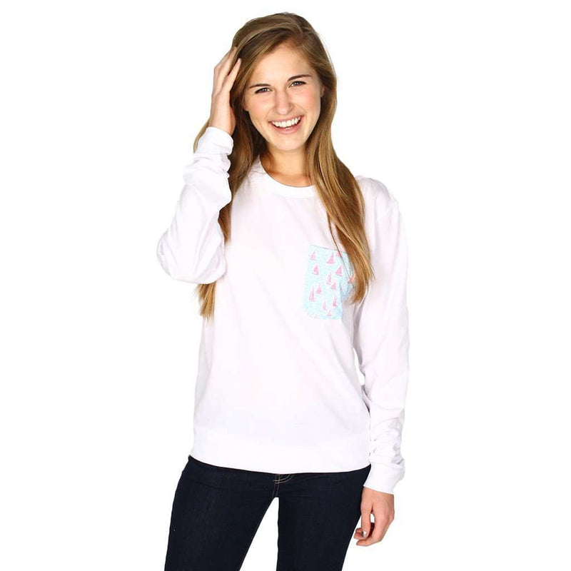 Long Sleeve Sailor's Delight Pocket Tee Shirt in White by Krass & Co. - FINAL SALE