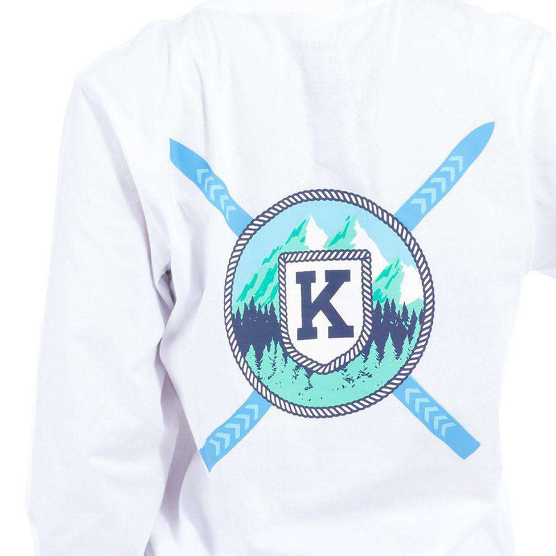 Long Sleeve Ski Mountain Pocket Tee Shirt in White by Krass & Co.