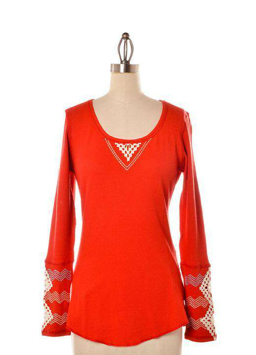 Women's Tee Shirts - Long Sleeve Waffle Shirt In Red With Diamond Sleeve Detail By Judith March - FINAL SALE