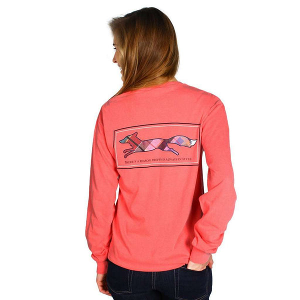 Women's Tee Shirts - Longshanks Long Sleeve Tee Shirt In Watermelon By Country Club Prep