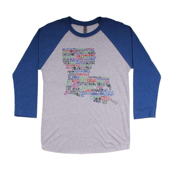 Women's Tee Shirts - Louisiana Cities And Towns Raglan Tee Shirt In Royal Blue By Southern Roots