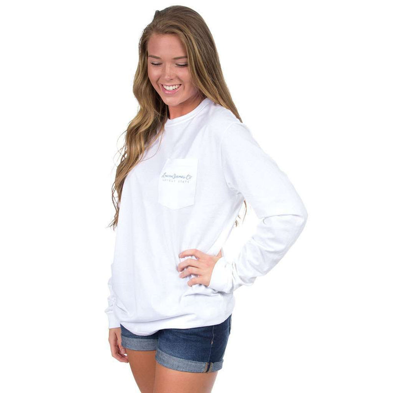 Louisiana Geaux Big Long Sleeve Tee in White by Lauren James - FINAL SALE
