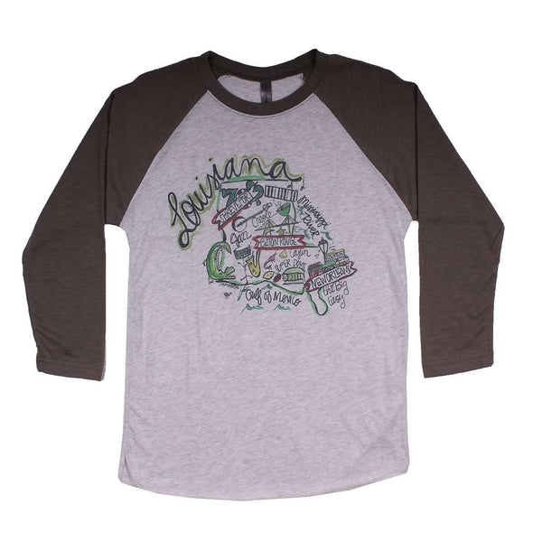Women's Tee Shirts - Louisiana Roadmap Raglan Tee Shirt In Gray By Southern Roots