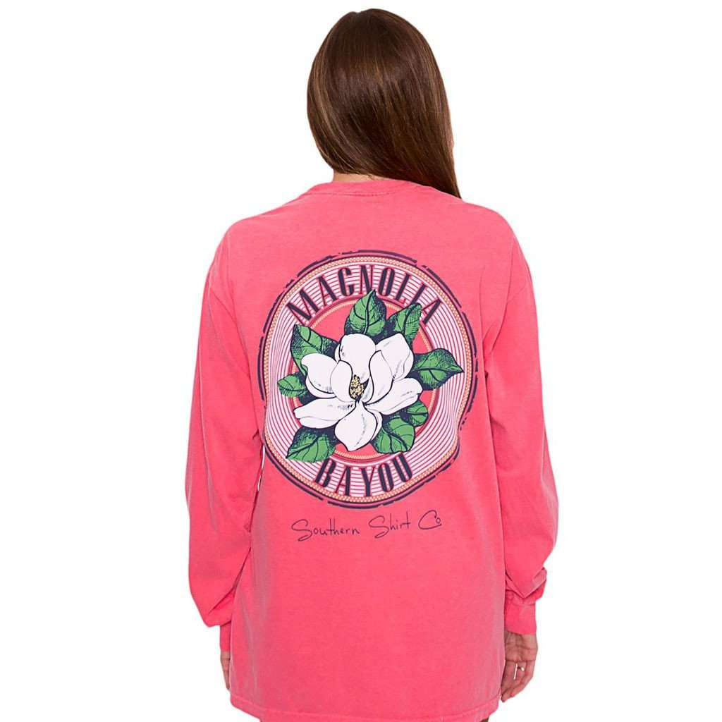 Women's Tee Shirts - Magnolia Bayou Long Sleeve Tee In Watermelon By The Southern Shirt Co.