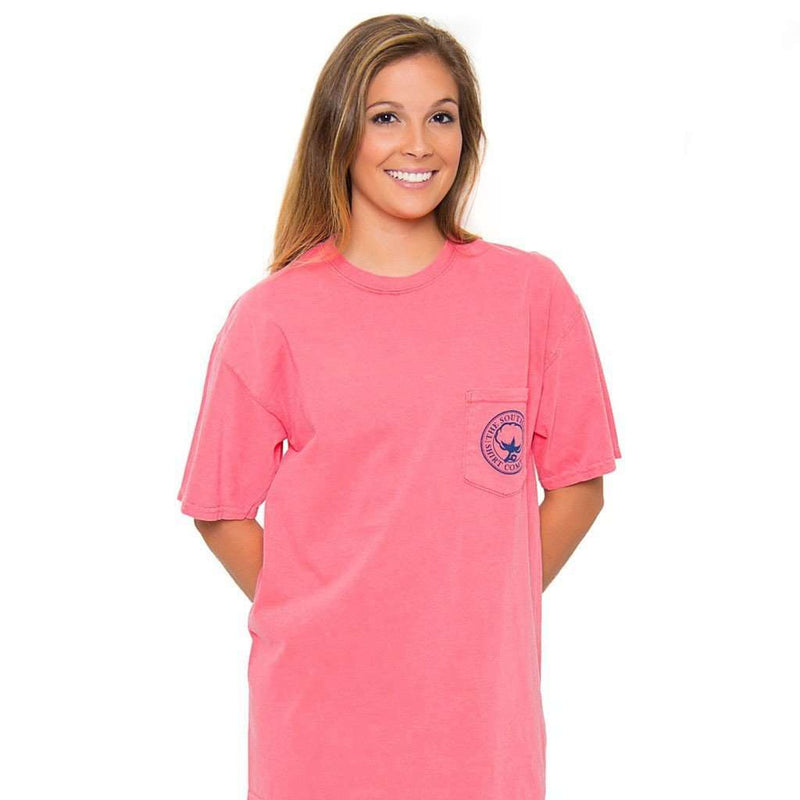 Women's Tee Shirts - Magnolia Bayou Tee In Watermelon By The Southern Shirt Co.