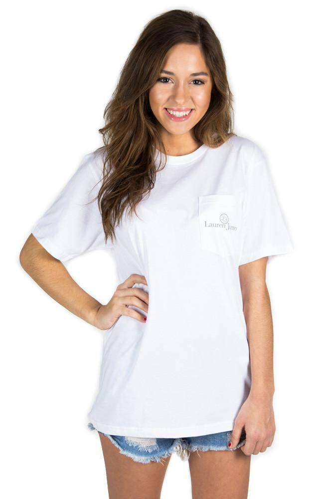 Magnolia Mornings Pocket Tee in White by Lauren James - FINAL SALE