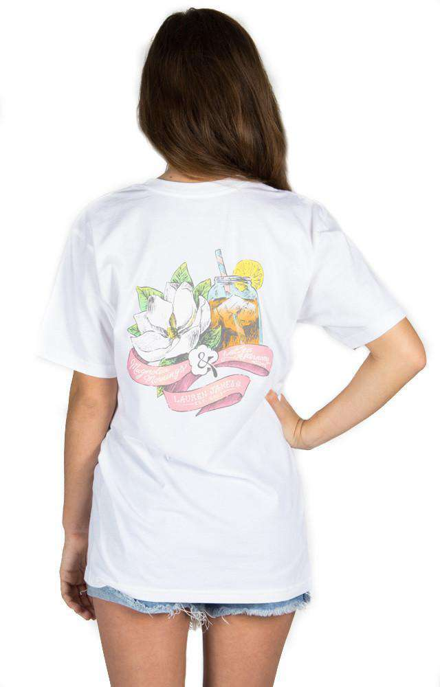 Women's Tee Shirts - Magnolia Mornings Pocket Tee In White By Lauren James - FINAL SALE