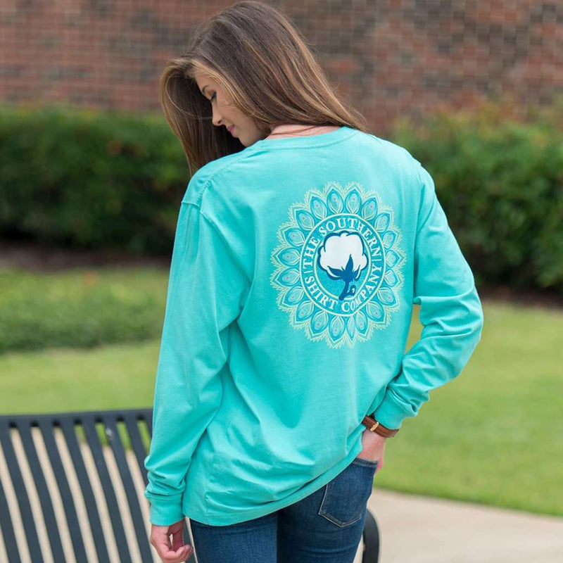 Mandala Logo Long Sleeve Tee Shirt in Turquoise by The Southern Shirt Co. - FINAL SALE