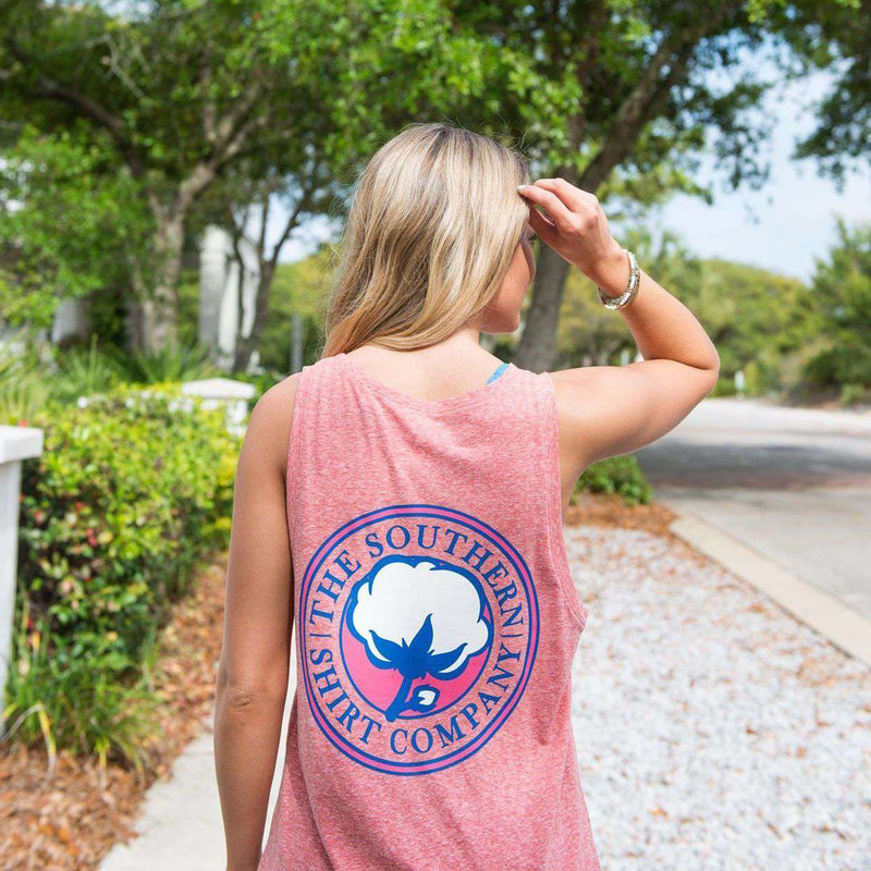 Marled Boyfriend Tank Top in Heather Coral by The Southern Shirt Co.